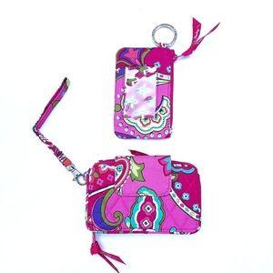 Vera Bradley Pink Swirls 2pc Wristlet ID Keychain
